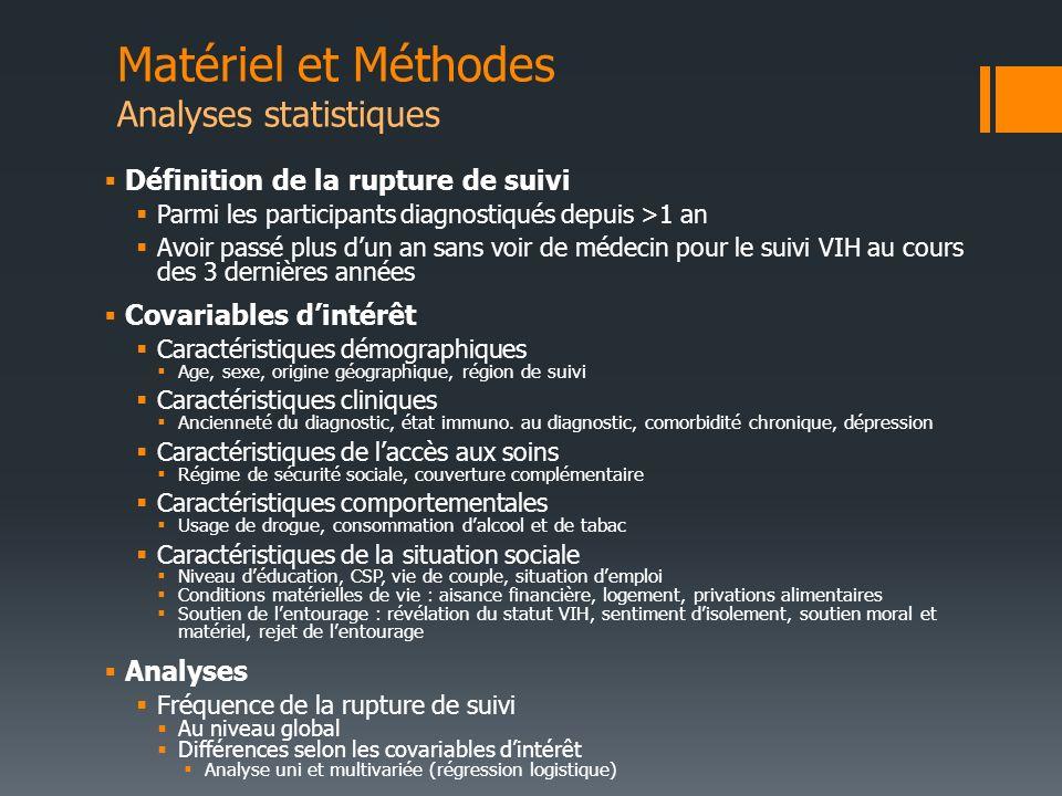 Matériel et Méthodes Analyses statistiques