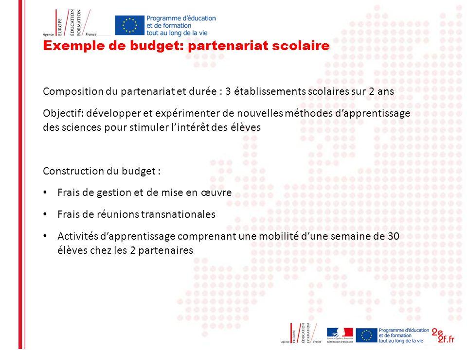 Exemple de budget: partenariat scolaire