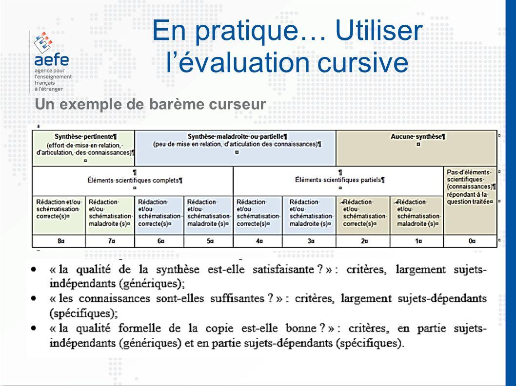 En pratique… Utiliser l'évaluation cursive