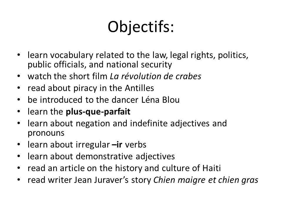 Objectifs: learn vocabulary related to the law, legal rights, politics, public officials, and national security.