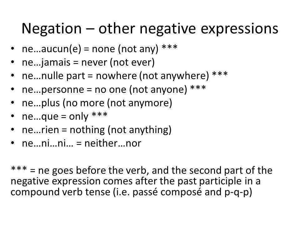 Negation – other negative expressions