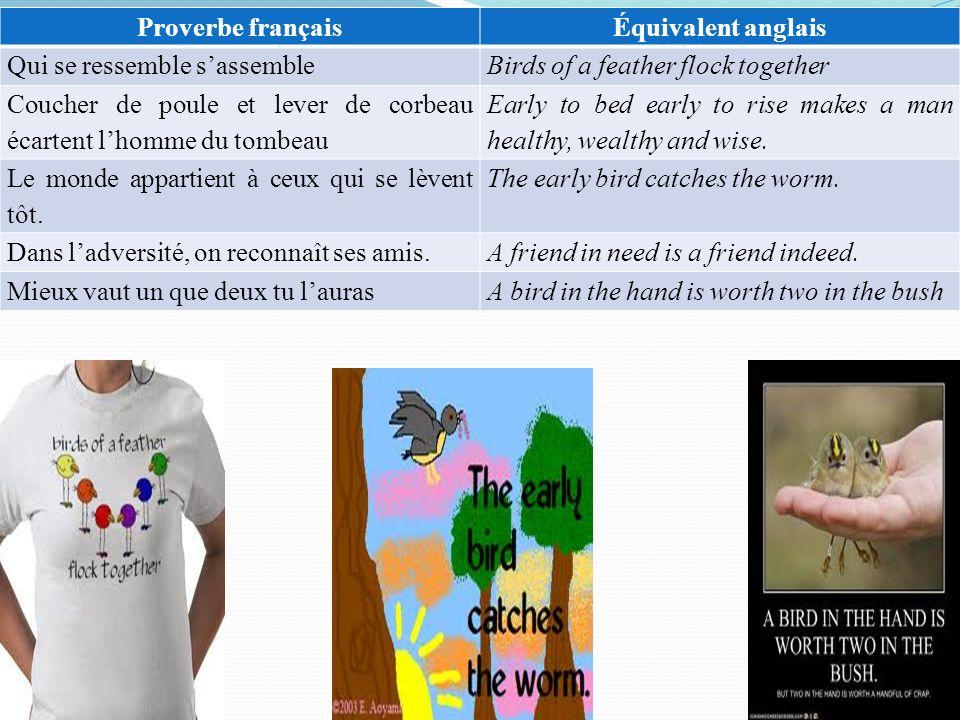 Proverbe français Équivalent anglais. Qui se ressemble s'assemble. Birds of a feather flock together.