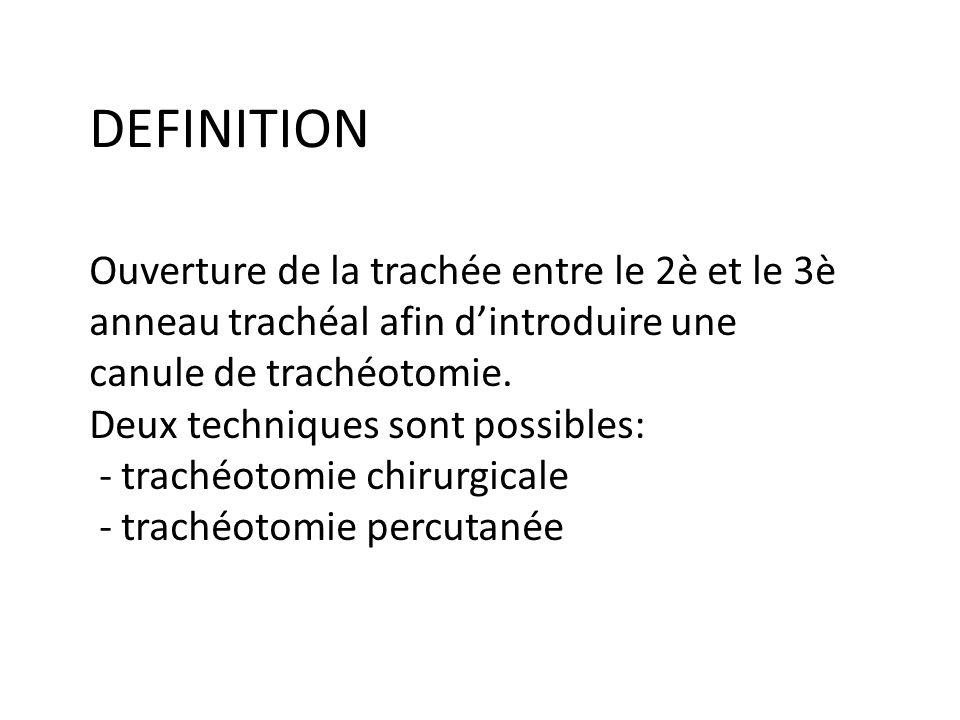 DEFINITION Ouverture de la trachée entre le 2è et le 3è anneau trachéal afin d'introduire une canule de trachéotomie.
