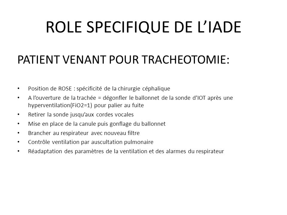 ROLE SPECIFIQUE DE L'IADE