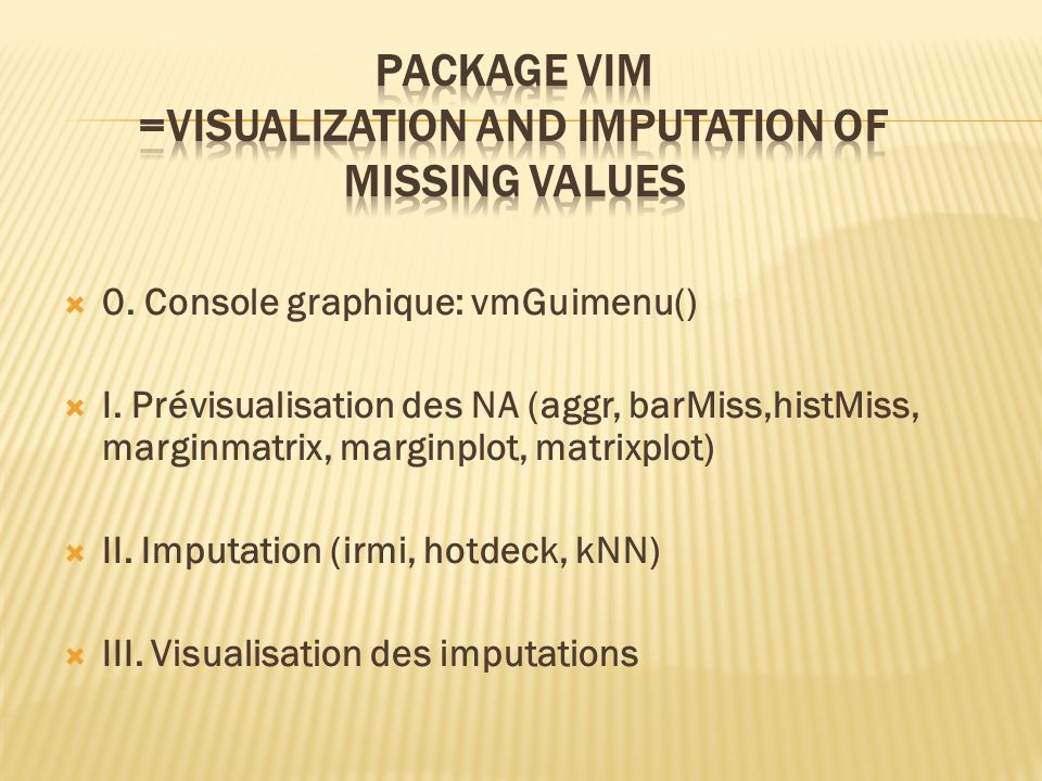Package Vim =Visualization and Imputation of missing values