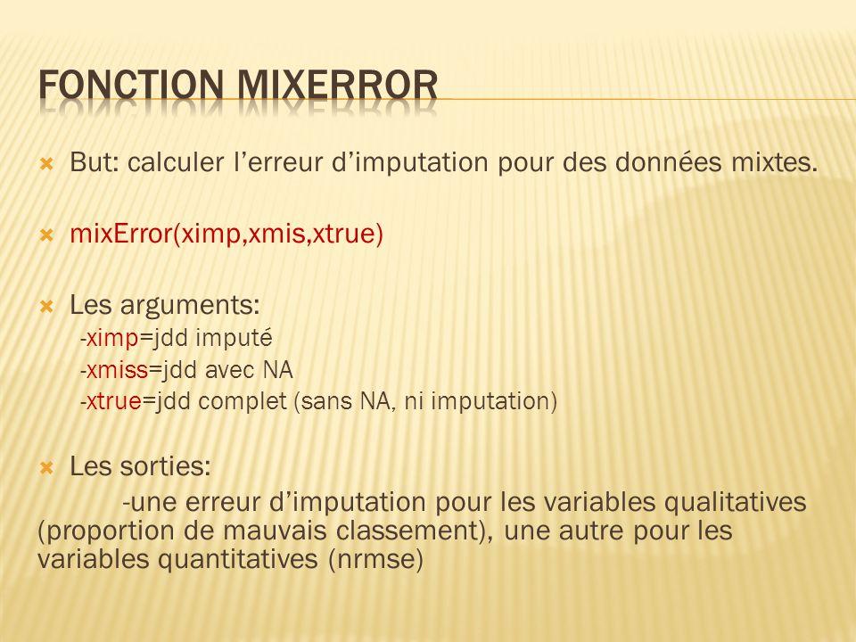 Fonction mixError But: calculer l'erreur d'imputation pour des données mixtes. mixError(ximp,xmis,xtrue)