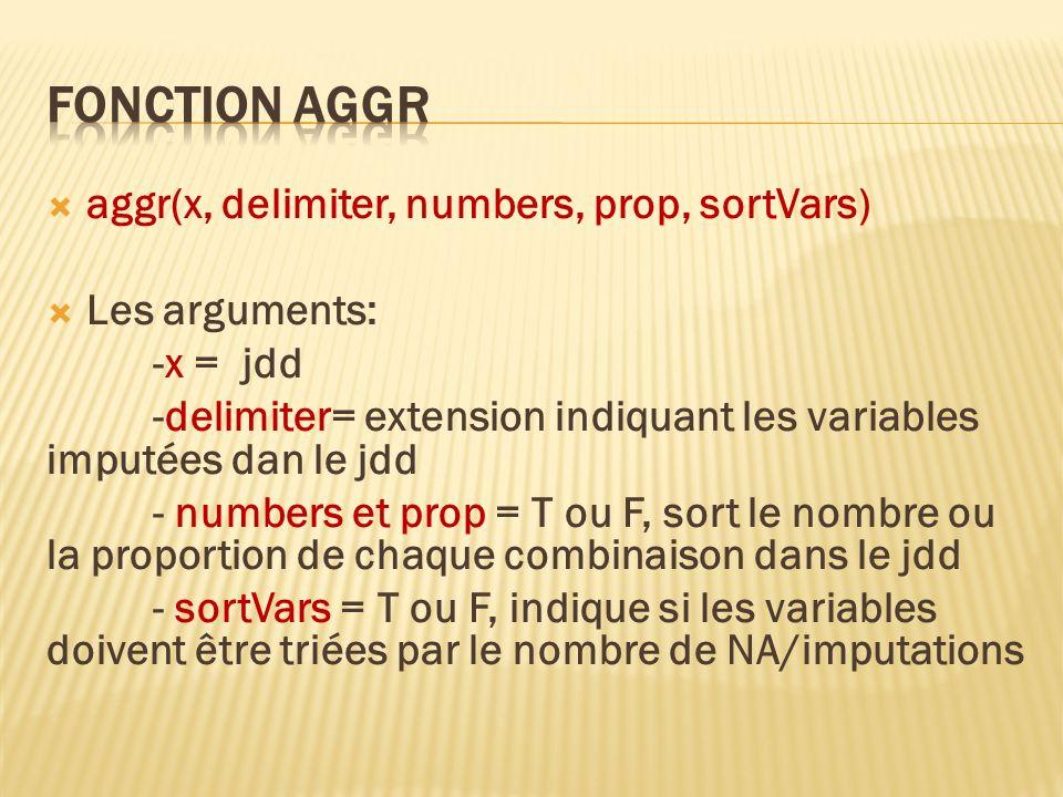 Fonction aggr aggr(x, delimiter, numbers, prop, sortVars)