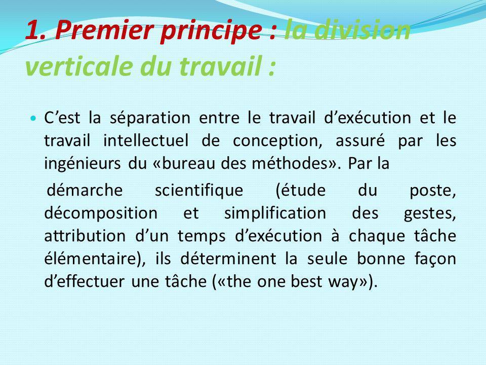 1. Premier principe : la division verticale du travail :