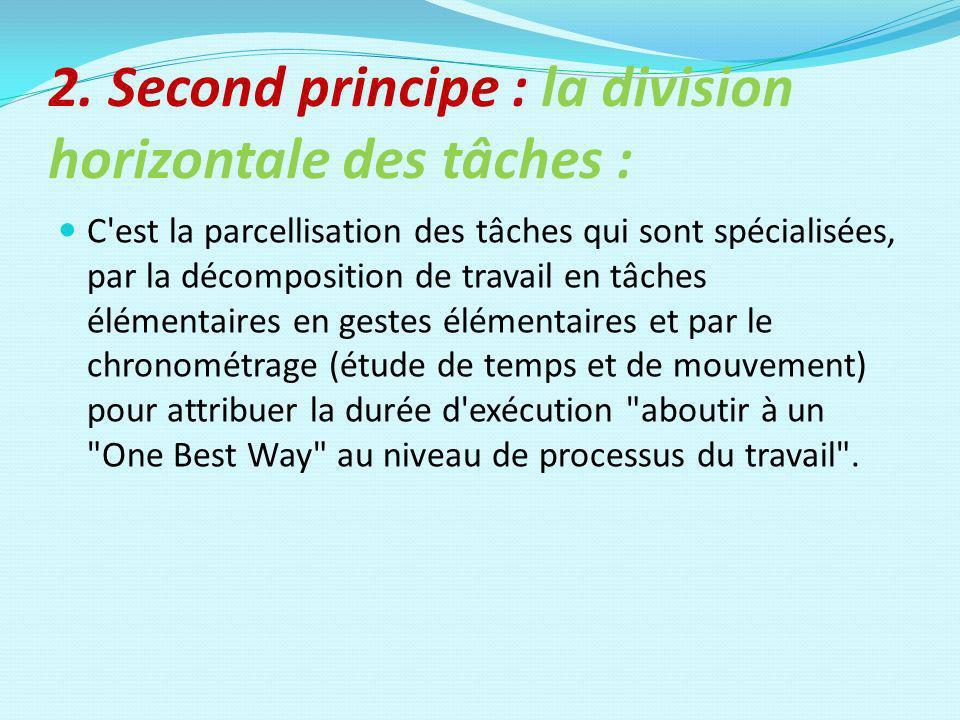 2. Second principe : la division horizontale des tâches :