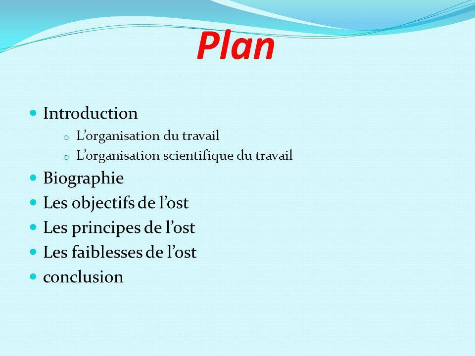 Plan Introduction Biographie Les objectifs de l'ost