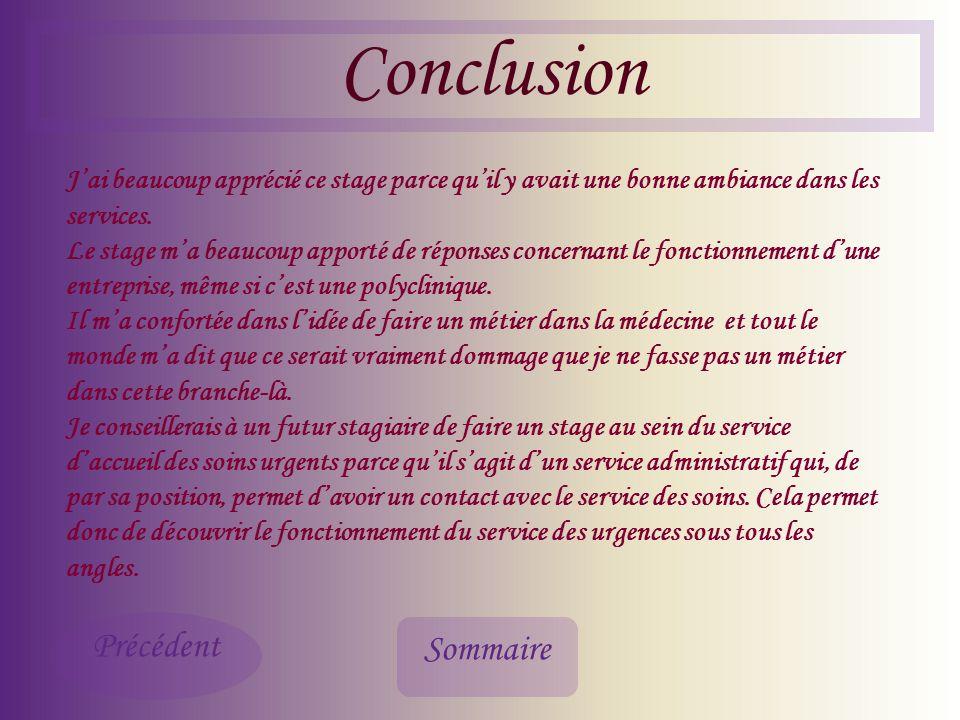 Conclusion Précédent Sommaire