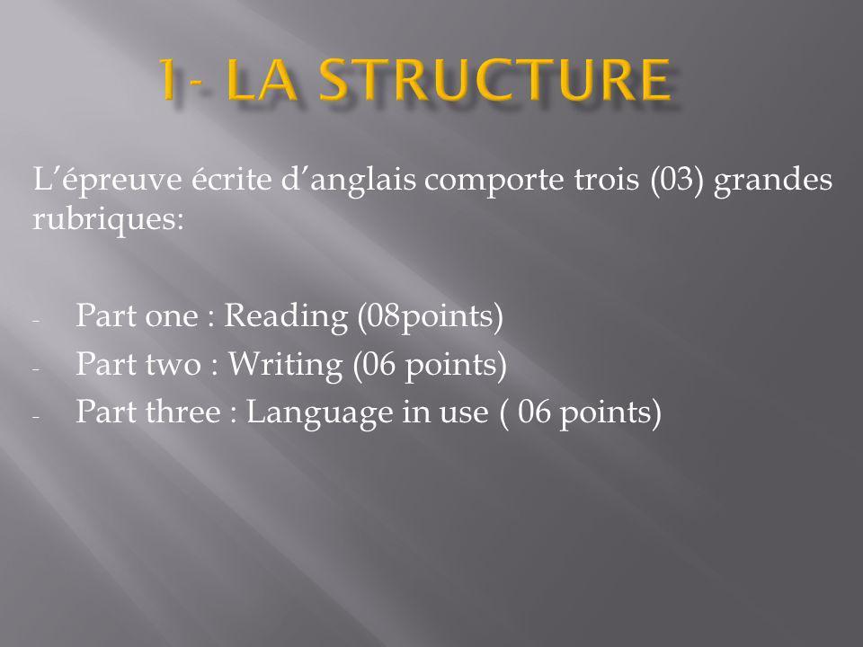 1- LA STRUCTURE L'épreuve écrite d'anglais comporte trois (03) grandes rubriques: Part one : Reading (08points)