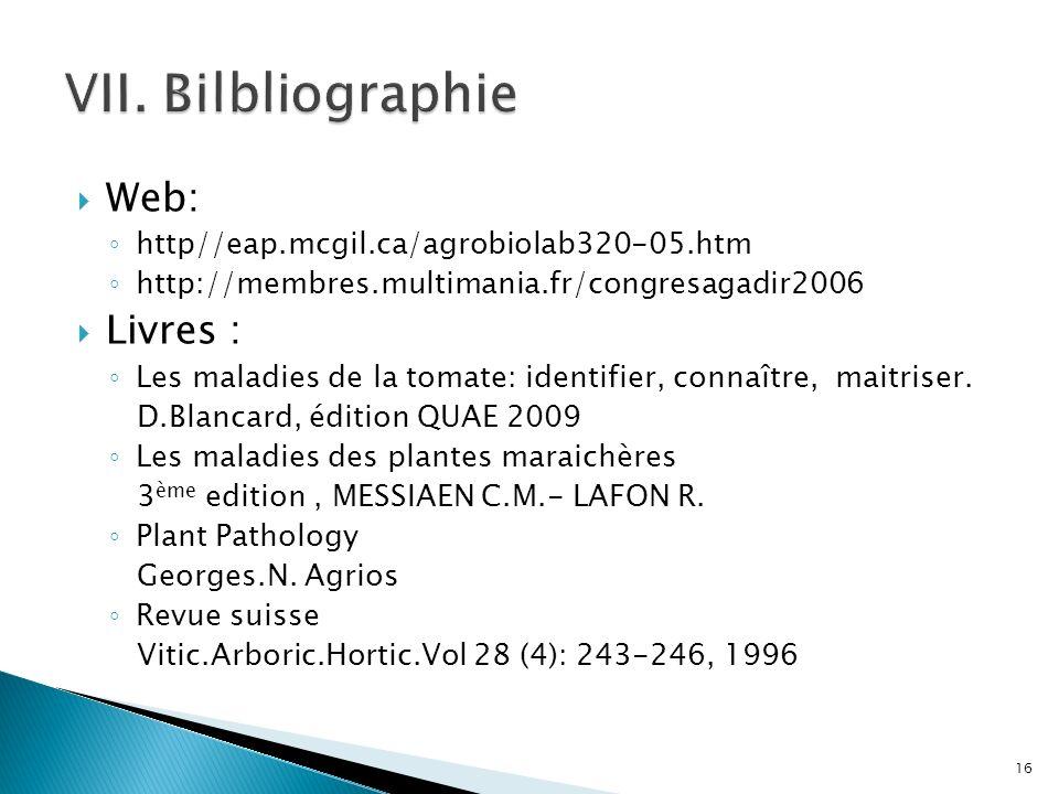 VII. Bilbliographie Web: Livres :