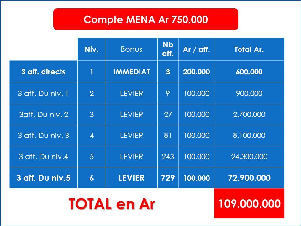 TOTAL en Ar 109.000.000 Compte MENA Ar 750.000 3 aff. Du niv.5 6 729