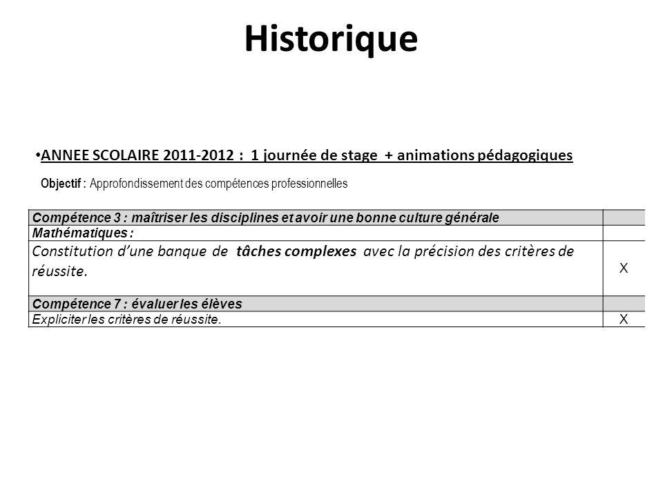 Historique ANNEE SCOLAIRE 2011-2012 : 1 journée de stage + animations pédagogiques. Objectif : Approfondissement des compétences professionnelles.