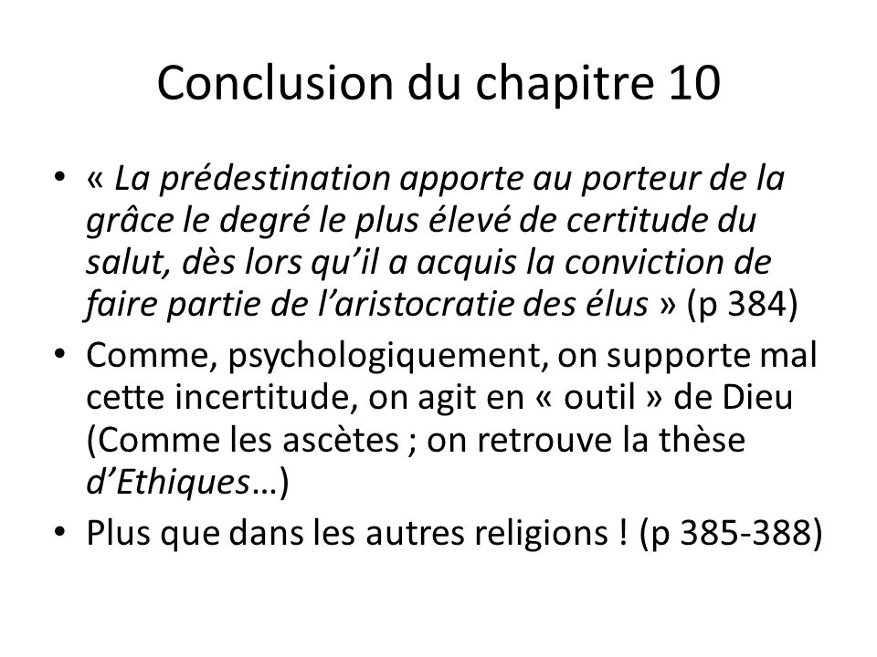Conclusion du chapitre 10