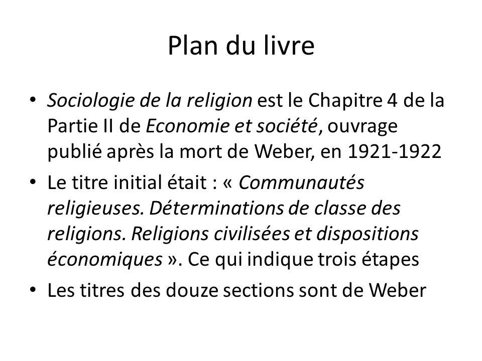 Plan du livre Sociologie de la religion est le Chapitre 4 de la Partie II de Economie et société, ouvrage publié après la mort de Weber, en 1921-1922.
