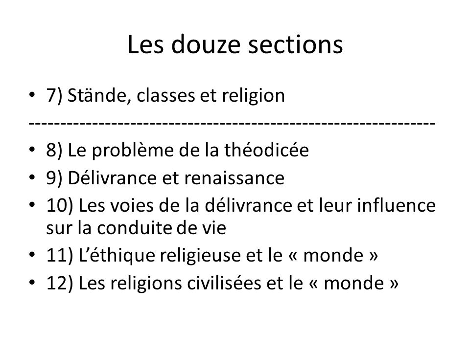 Les douze sections 7) Stände, classes et religion
