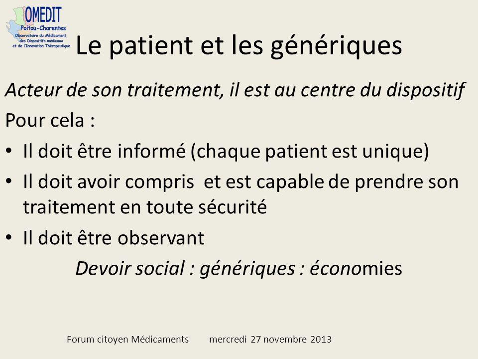 Le patient et les génériques