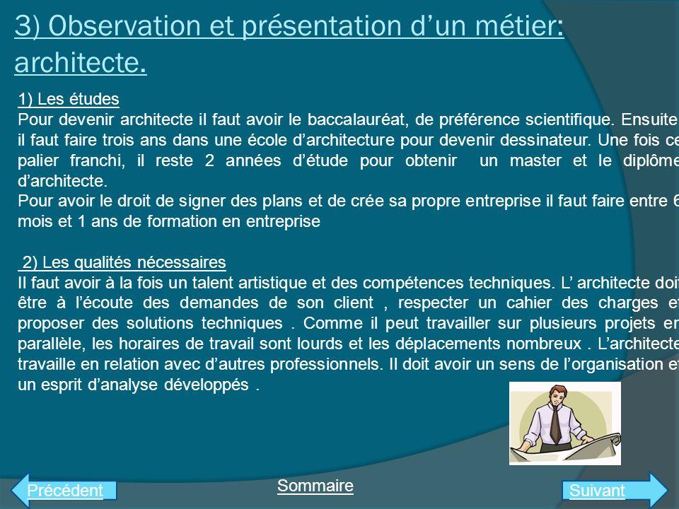 3) Observation et présentation d'un métier: architecte.