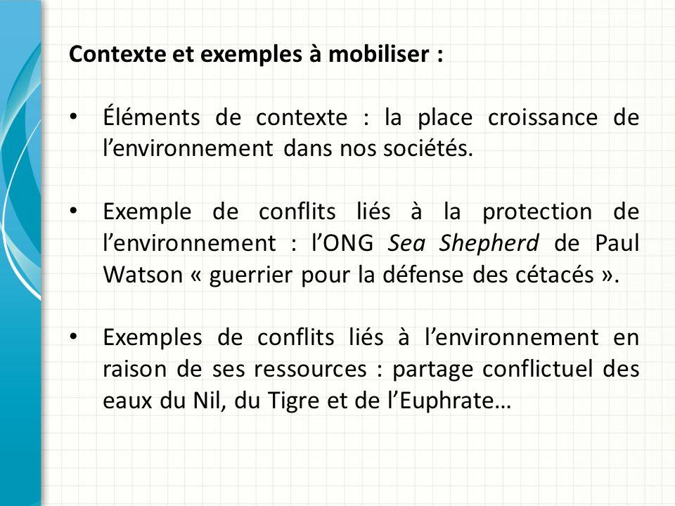 Contexte et exemples à mobiliser :