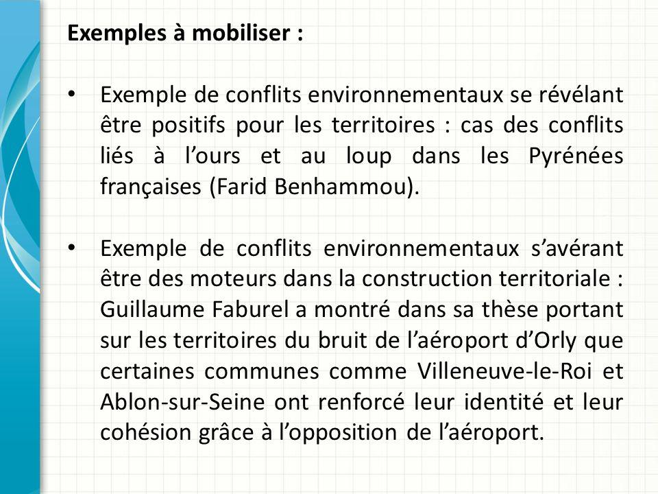Exemples à mobiliser :