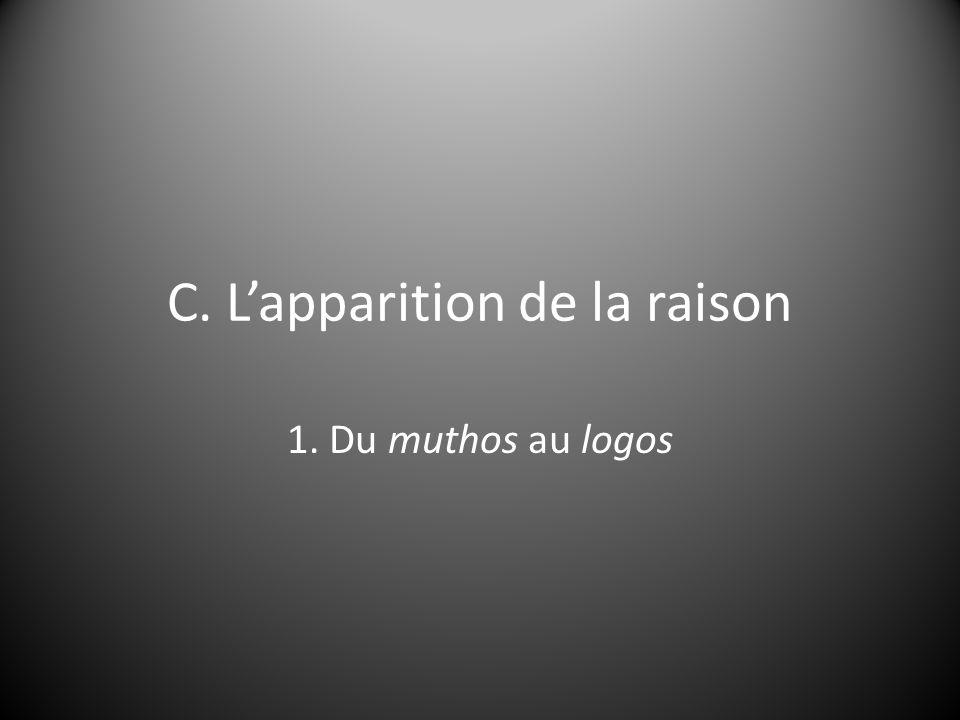 C. L'apparition de la raison