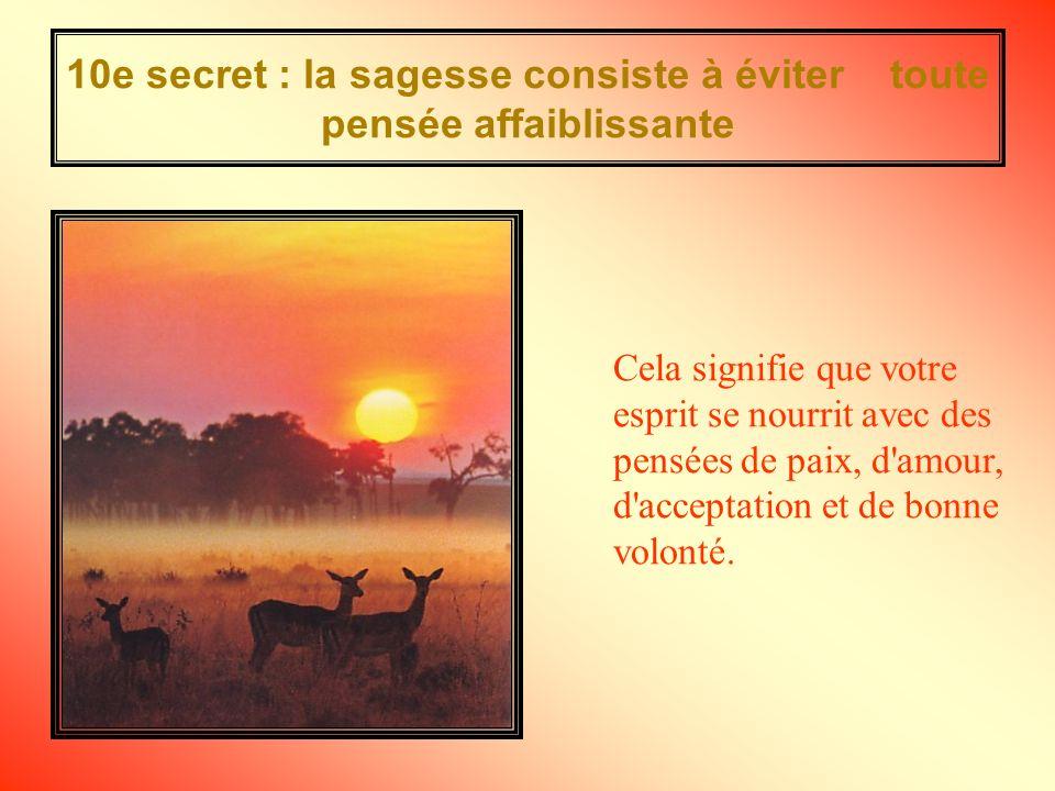 10e secret : la sagesse consiste à éviter toute pensée affaiblissante