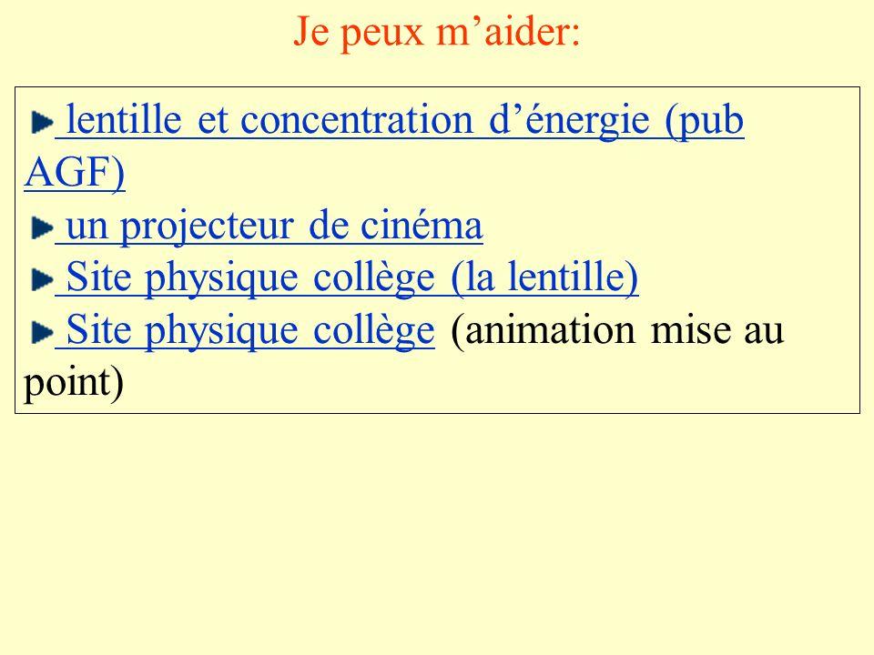 Je peux m'aider: lentille et concentration d'énergie (pub AGF) un projecteur de cinéma. Site physique collège (la lentille)