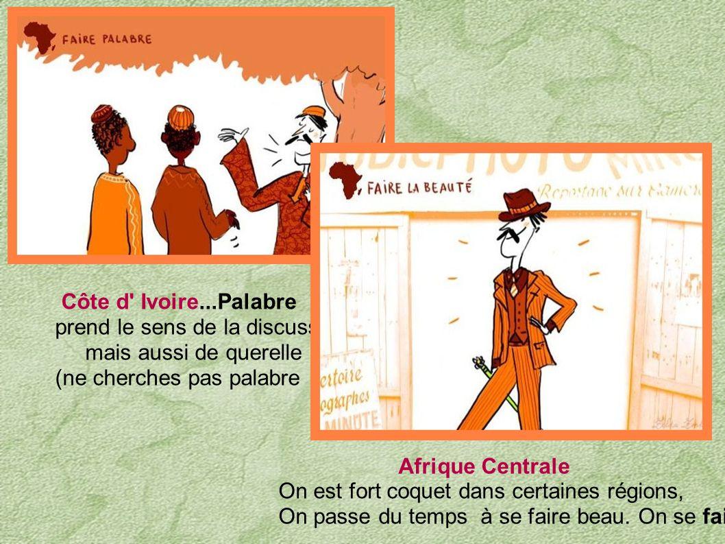 Côte d Ivoire...Palabre prend le sens de la discussion. mais aussi de querelle. (ne cherches pas palabre !!!)