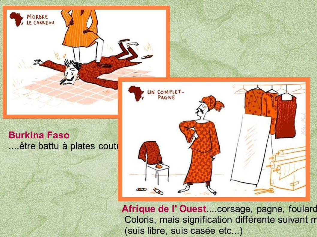 Burkina Faso ....être battu à plates coutures. Afrique de l Ouest....corsage, pagne, foulard de même.