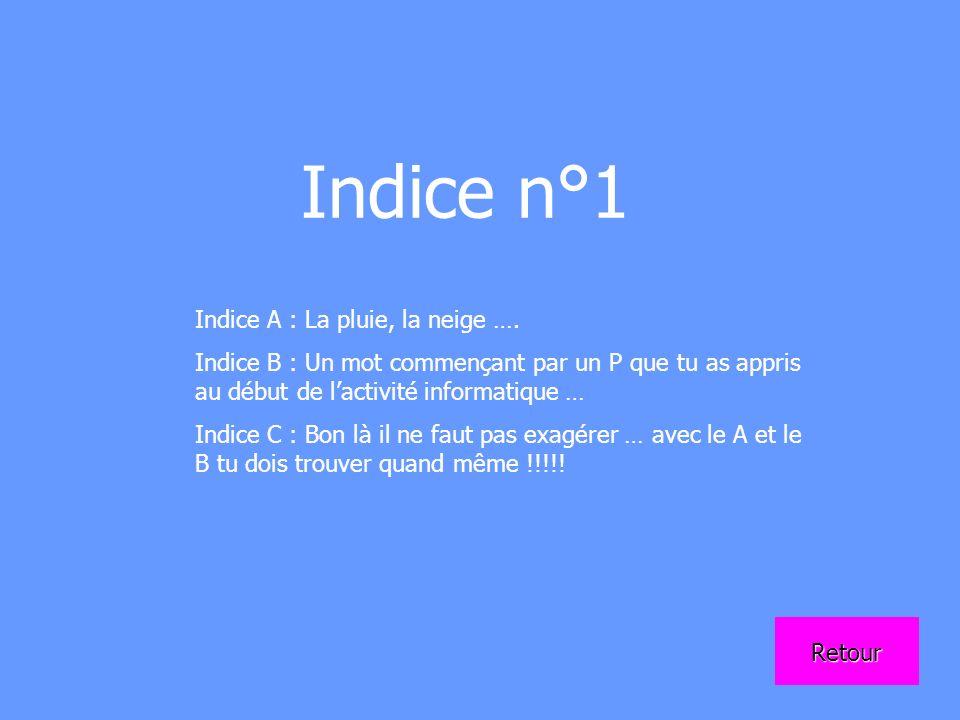 Indice n°1 Indice A : La pluie, la neige ….