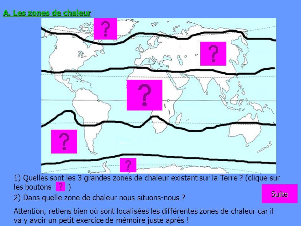 A. Les zones de chaleur 1) Quelles sont les 3 grandes zones de chaleur existant sur la Terre (clique sur les boutons )