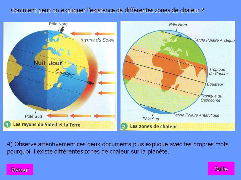 Comment peut-on expliquer l'existence de différentes zones de chaleur