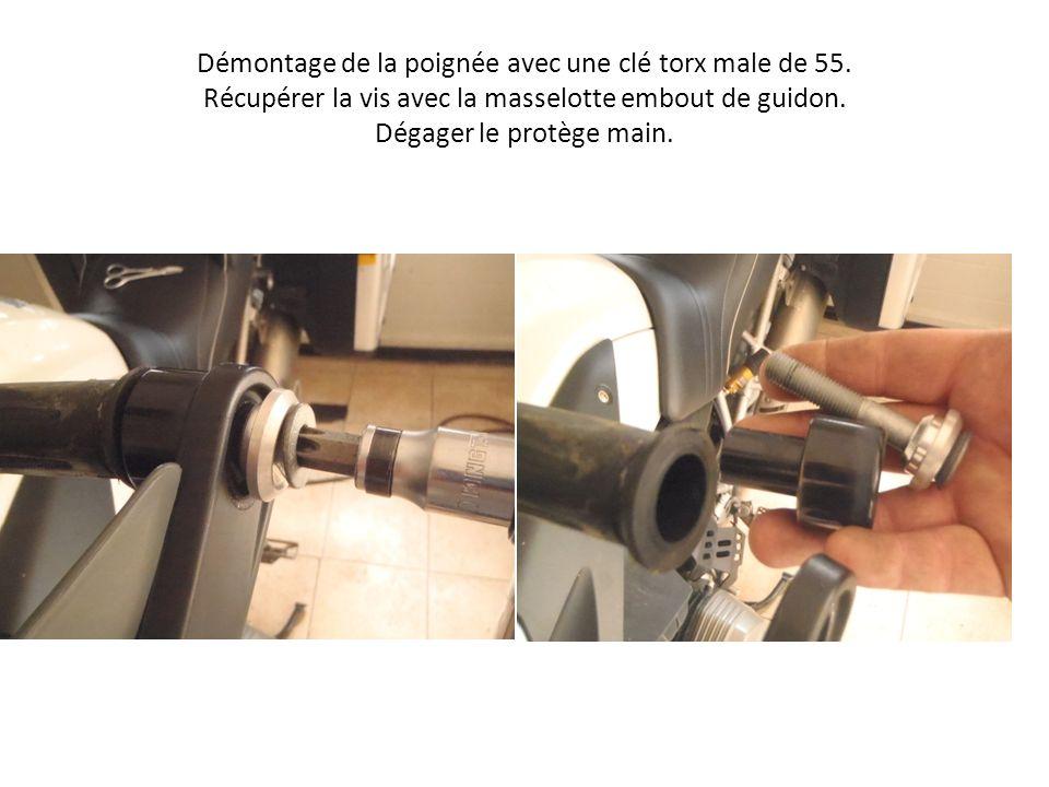 Démontage de la poignée avec une clé torx male de 55