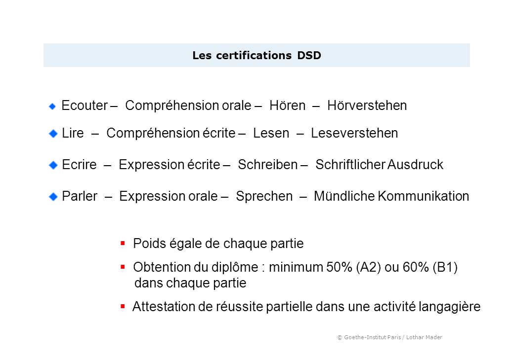 Les certifications DSD