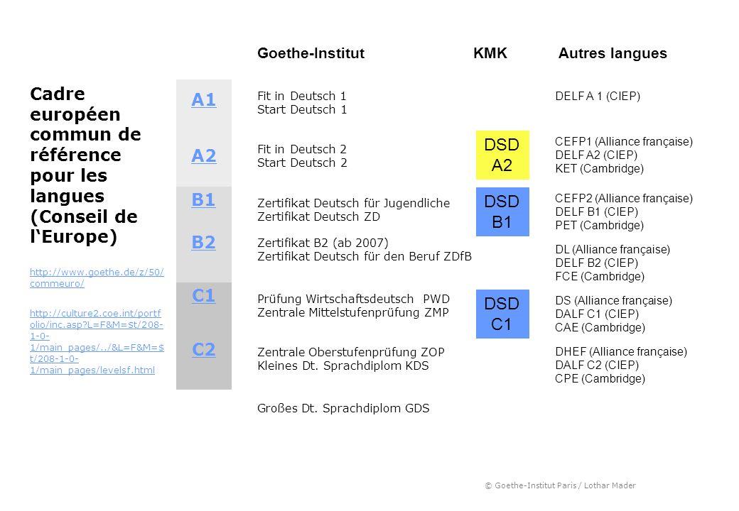 Goethe-Institut KMK. Autres langues. Cadre européen commun de référence pour les langues (Conseil de l'Europe)