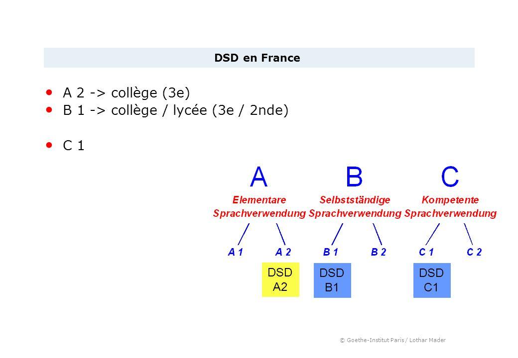B 1 -> collège / lycée (3e / 2nde) C 1
