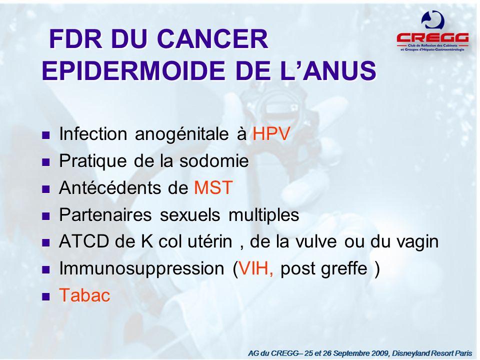 FDR DU CANCER EPIDERMOIDE DE L'ANUS