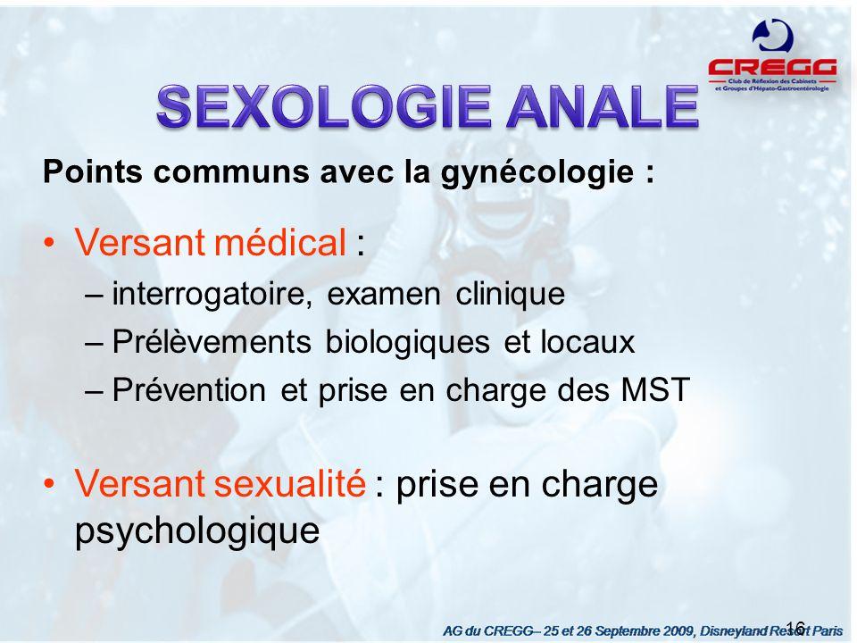 SEXOLOGIE ANALE Versant médical :