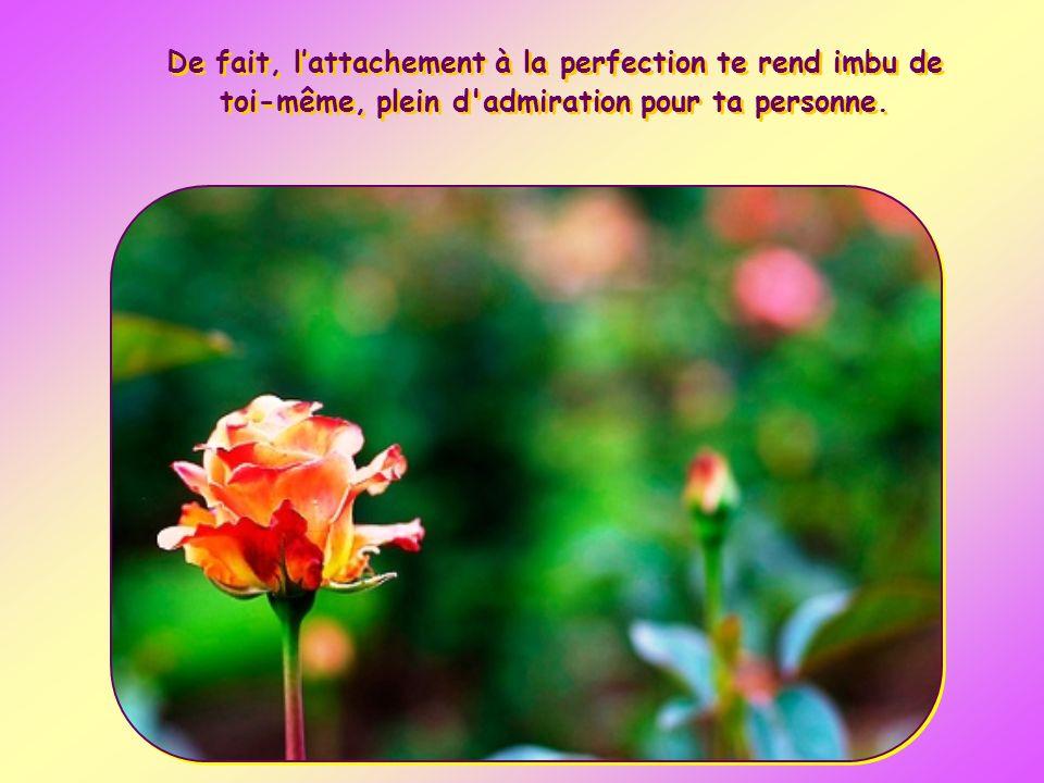 De fait, l'attachement à la perfection te rend imbu de toi-même, plein d admiration pour ta personne.