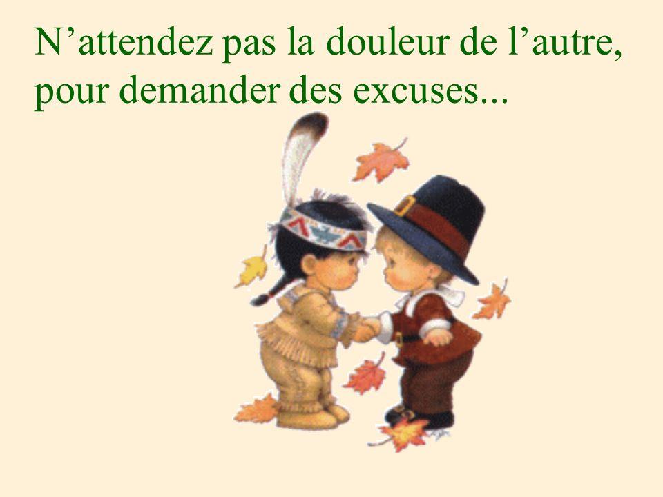 N'attendez pas la douleur de l'autre, pour demander des excuses...