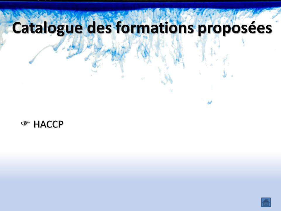 Catalogue des formations proposées