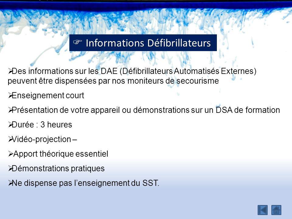  Informations Défibrillateurs