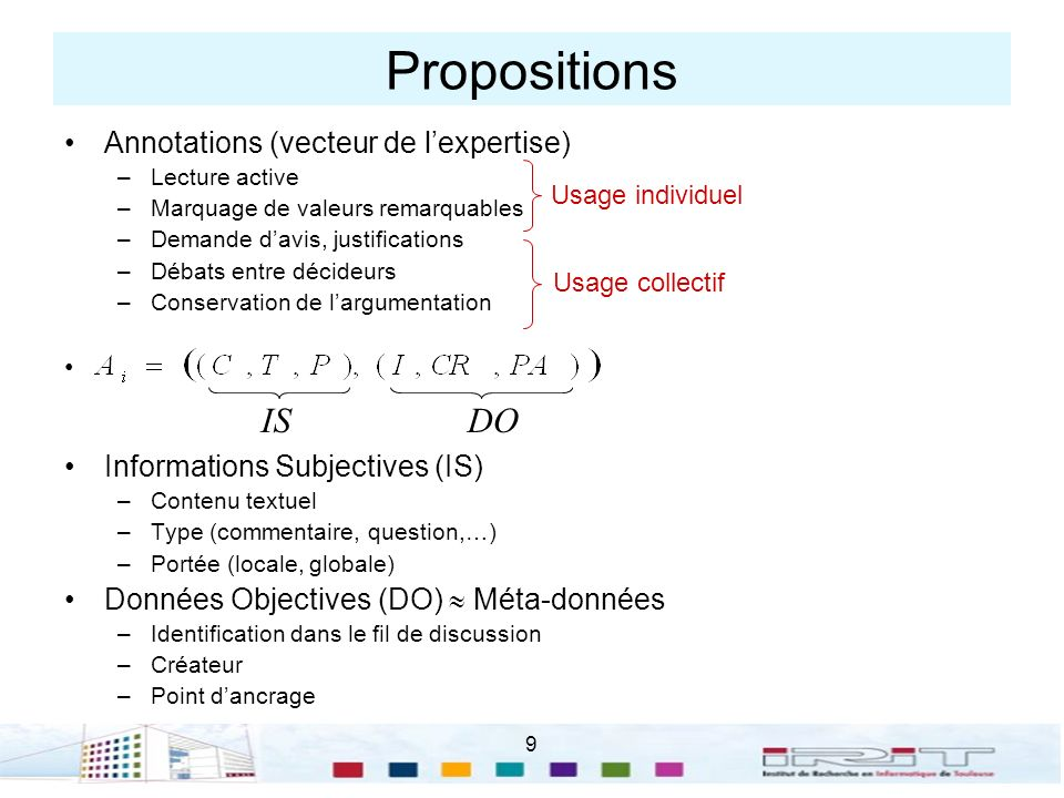 Propositions IS DO Annotations (vecteur de l'expertise)
