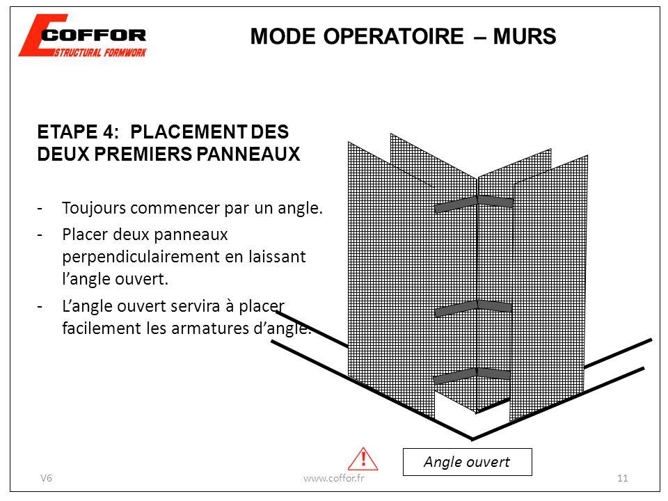 MODE OPERATOIRE – MURS ETAPE 4: PLACEMENT DES DEUX PREMIERS PANNEAUX