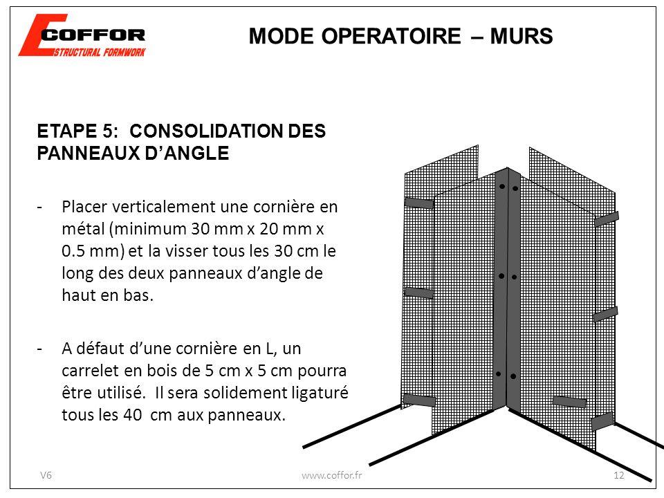 MODE OPERATOIRE – MURS ETAPE 5: CONSOLIDATION DES PANNEAUX D'ANGLE