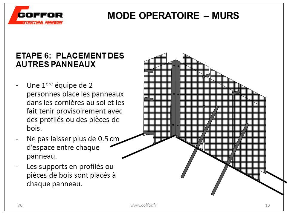 MODE OPERATOIRE – MURS ETAPE 6: PLACEMENT DES AUTRES PANNEAUX