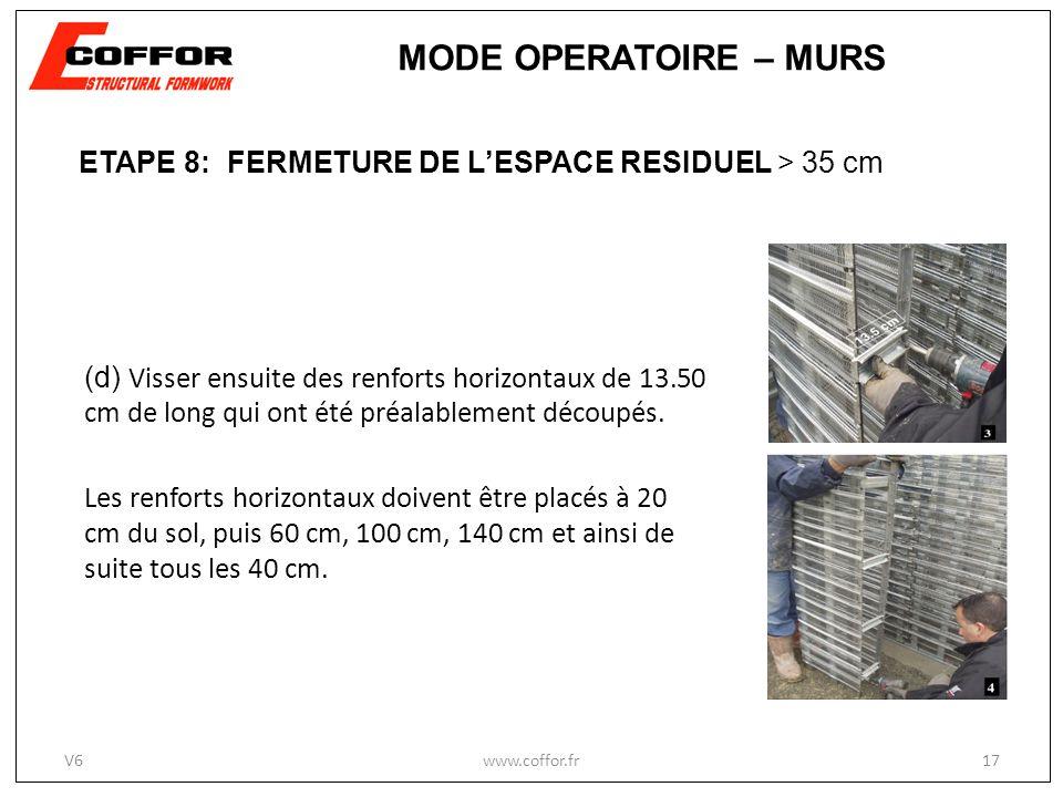 MODE OPERATOIRE – MURS ETAPE 8: FERMETURE DE L'ESPACE RESIDUEL > 35 cm.