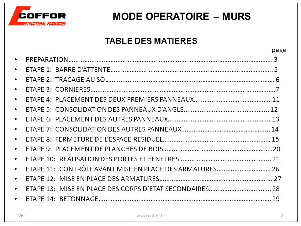 MODE OPERATOIRE – MURS TABLE DES MATIERES page